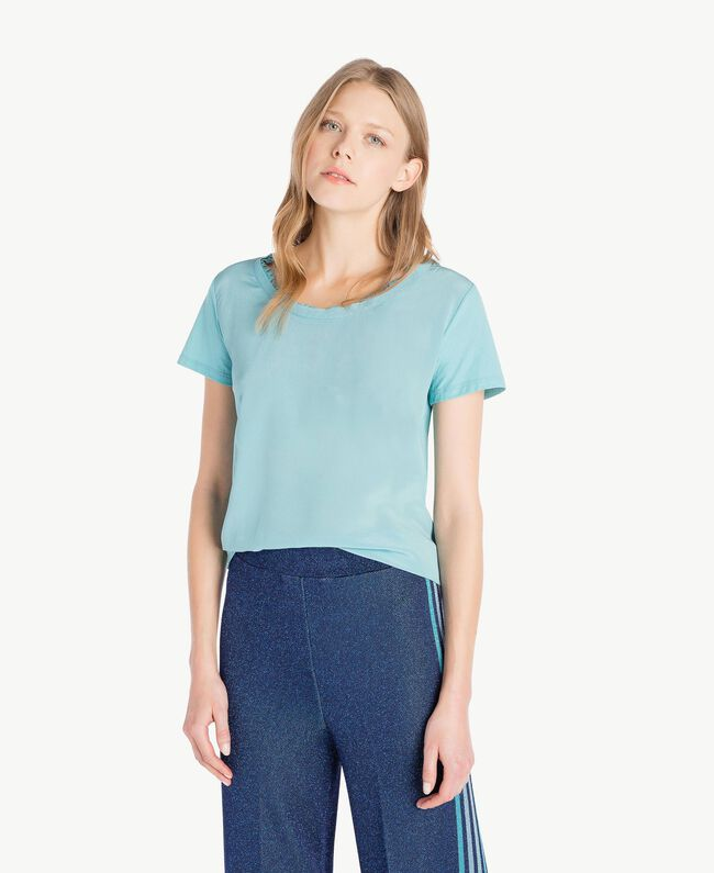 Silk T-shirt Sky Blue Woman PS82HB-01
