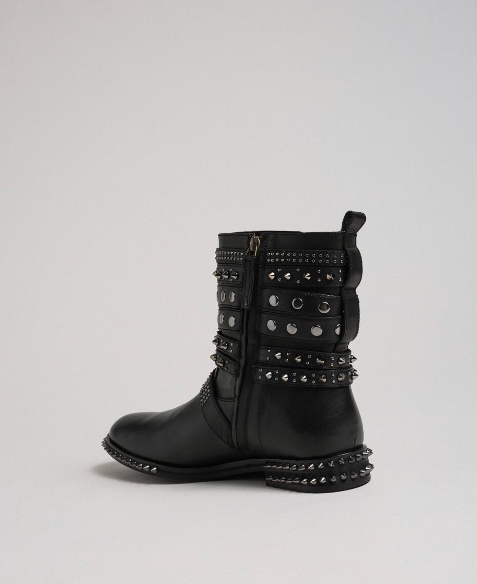 Leather biker boots with straps and studs Black Woman 192TCP01Q-03