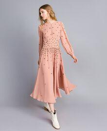 Robe longue en crêpe georgette avec broderie Rose Pâle Femme TA826A-01