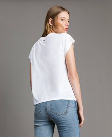 T-shirt with embroidery and appliqués White Cream Woman 191MP2063-04