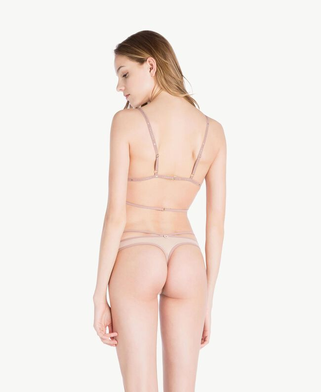 """Embroidered thong Two-tone """"Soft Lime"""" Yellow / """"Peach Powder"""" Pink Woman LS8F88-04"""