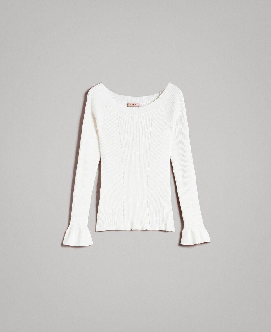 Pullover mit Streifendessin Weiß Schnee Frau 191TP3272-0S