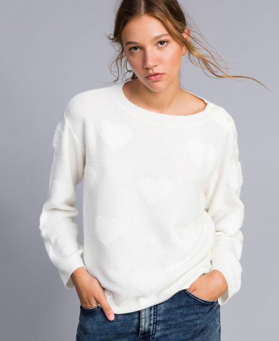 Pull en laine mélangée avec incrustation de cœurs Nacre Femme JA83E1-02