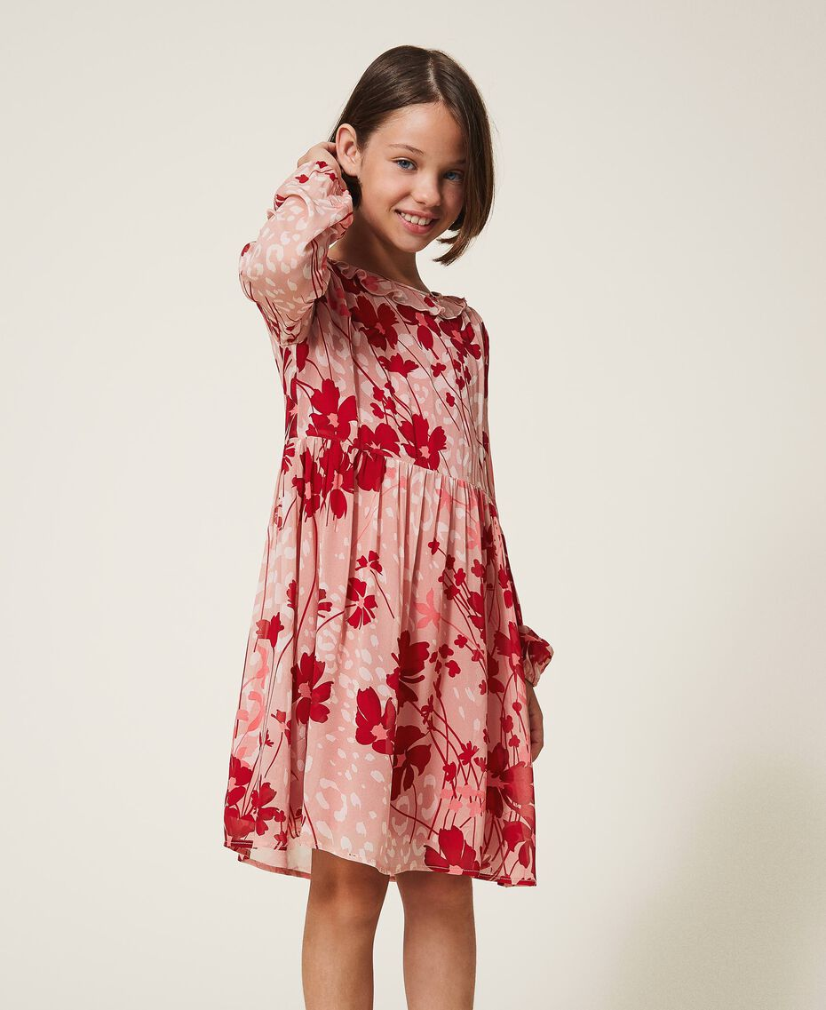 """Floral georgette dress Peach / """"Cherry"""" Red Flowers Animal Print Child 202GJ262A-01"""