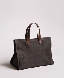 Oversized straw-effect shopping bag Dark Brown Woman 191LM4ZCC-04