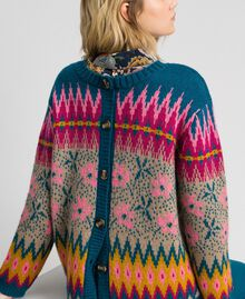 Pull-cardigan jacquard multicolore Jacquard Multicolore Bleu « Lake » Femme 192MP3181-06