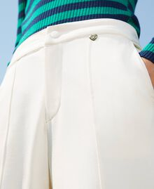 Trousers with crêpe de Chine finishes Creamy White Woman 202MP2292-04
