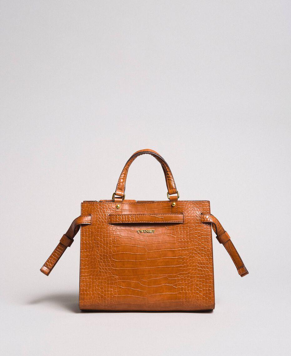 Crocodile print shopper Leather Brown Woman 191TA7122-02
