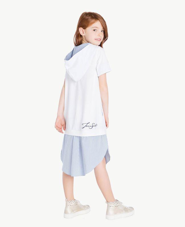 "Embroidered dress ""Papyrus"" White / Light Blue Jacquard Child GS82LN-04"
