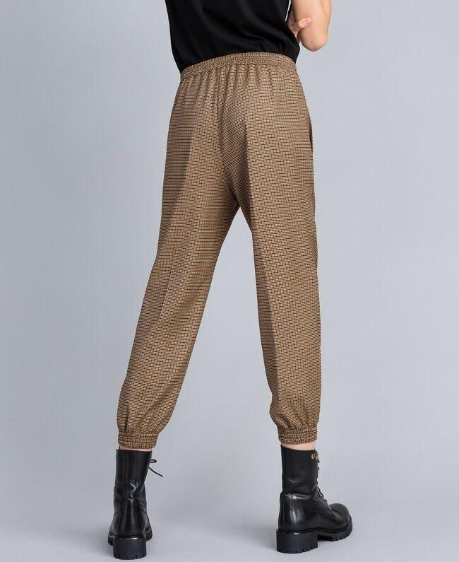 Pantalon de jogging en laine mélangée Jacquard Petits Carreaux Orange Brûlée Femme TA821Q-03