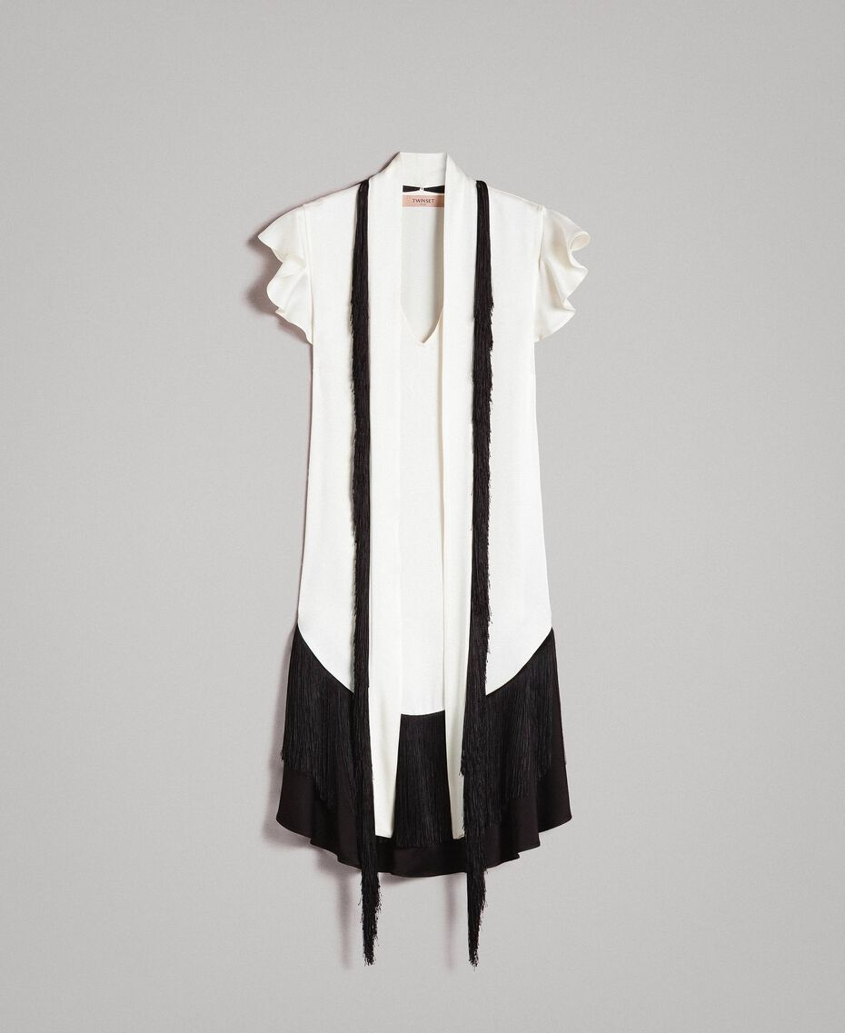 "Fringed belt dress Bicolour ""Snow"" White / Black Woman 191TT2381-0S"