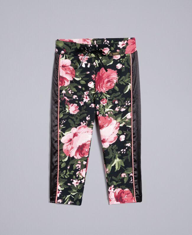 Pantalon en piqué imprimé Imprimé Roses / Noir Enfant FA82RU-01