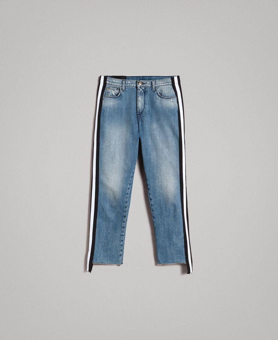 Loose jeans with striped panels Denim Blue Woman 191MP2482-0S