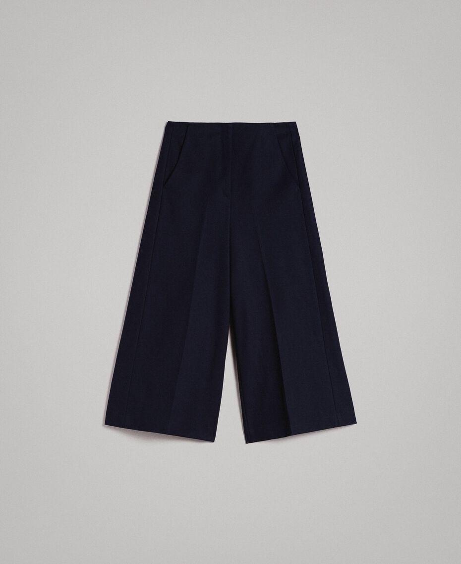 Cotton cropped trousers Deep Blue Woman 191TP2230-0S