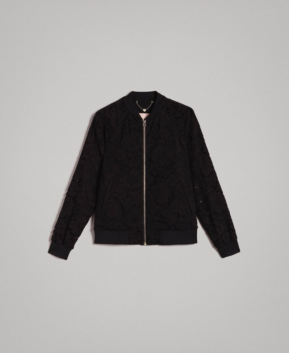 Macramé lace bomber Black Woman 191TP2250-0S