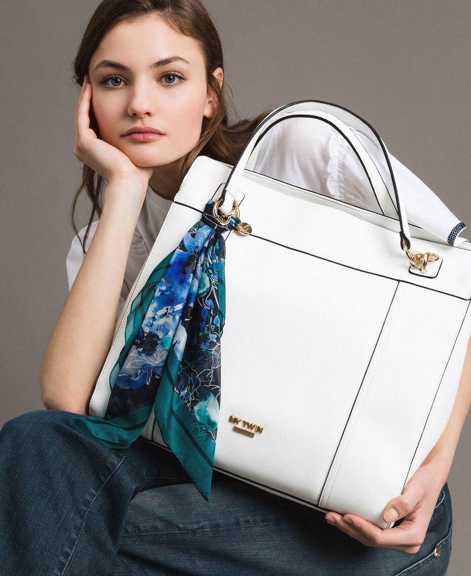 Hobo-Bag aus Lederimitat mit Halstuch Mattweiß Frau 191MO8102-0S