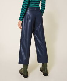 Faux leather cropped trousers Blackout Blue Woman 202LI2GAA-05
