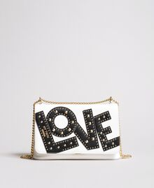 Faux leather shoulder bag with patch White Cream Woman 191MA7071-01