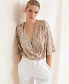 Jumpsuit with criss-cross and sequins Ivory Woman 201LB21CC-05