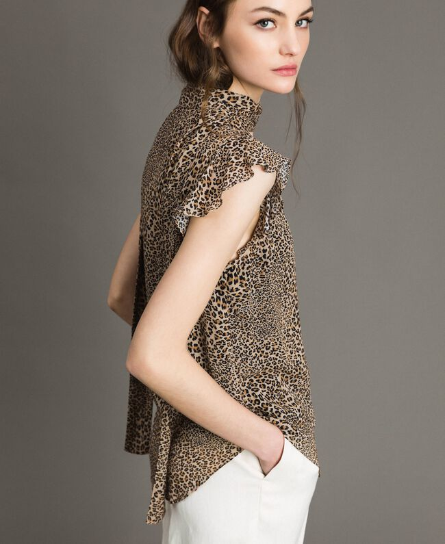 Animal print georgette blouse Small Animal Print Woman 191TP2720-03