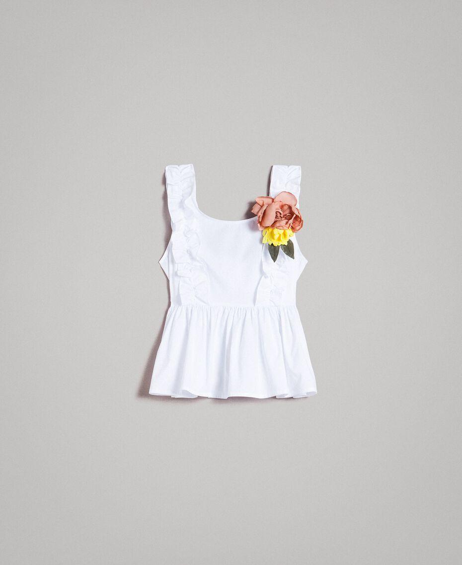 Popeline-Top mit Rüschen und Brosche Weiß Frau 191MT2051-0S