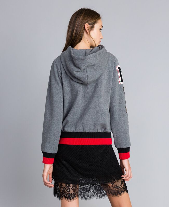 """Sudadera de algodón perchado con capucha Multicolor Gris Mezcla /  / Verde Alpino / Rojo """"Amapola"""" Mujer YA82LR-04"""