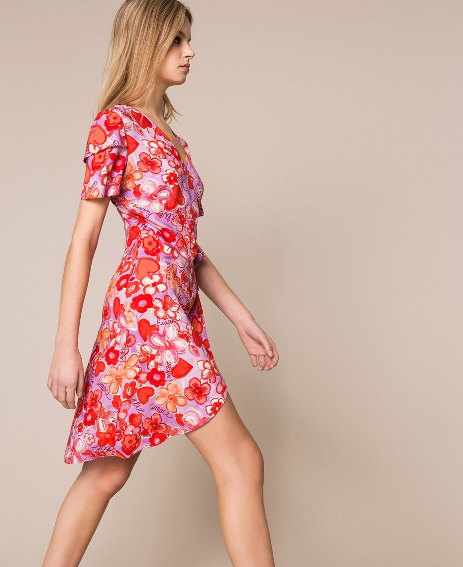 Kleid mit Blumenprint Frau, Blau | TWINSET Milano