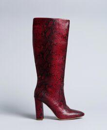 Bottes hautes en cuir Python Bordeaux Femme CA8PLJ-01
