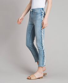 Skinny jeans with fringes Denim Blue Woman 191MT2434-03