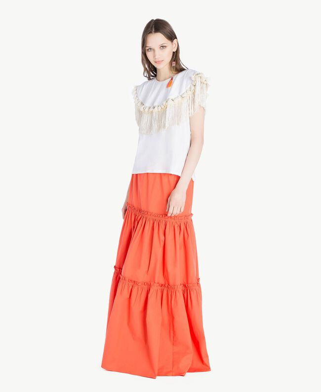 Long poplin skirt Orange Woman TS821V-05