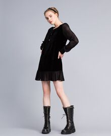 Velvet and georgette dress Black Woman PA823A-01