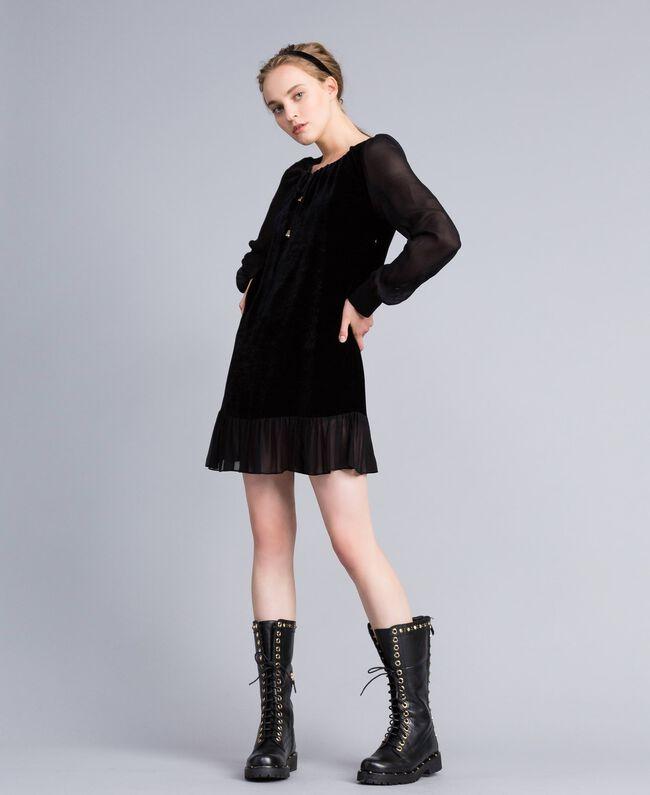 Robe en velours et crêpe georgette Noir Femme PA823A-01