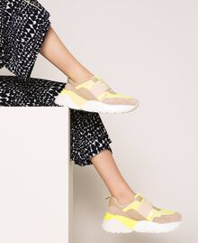 Running shoes with logo Two-tone Optical White / Fluo Yellow Woman 201TCP152-0S