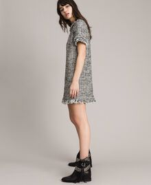 "Fringed tweed tunic dress Two-tone ""Snow"" White Bouclé / Black Woman 191TP2525-03"