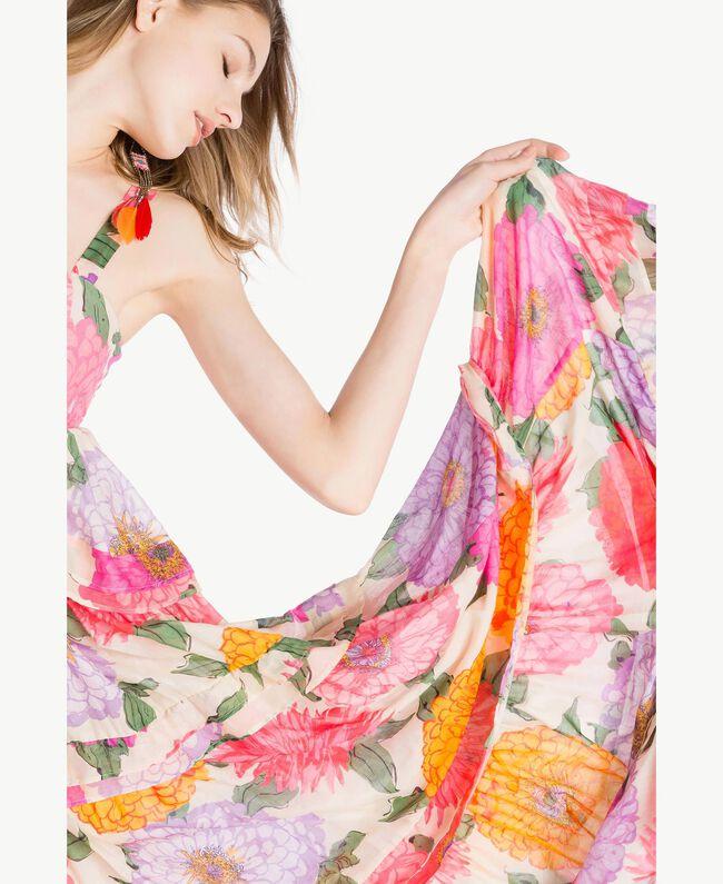 Langes Kleid aus Musselin Makropfingstrosen-Print Frau TS825C-04