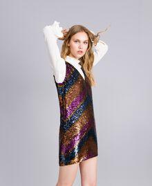 Kleid mit Alloverpailletten Paillettenstreifen mehrfarbig Frau TA82DE-01