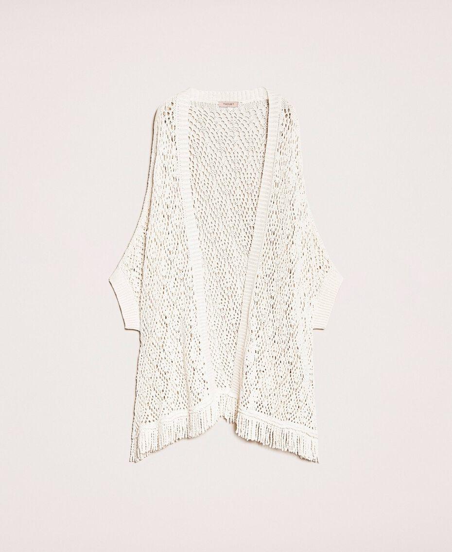 Cardigan poncho en crochet avec franges Blanc Antique White Femme 201TT3101-0S