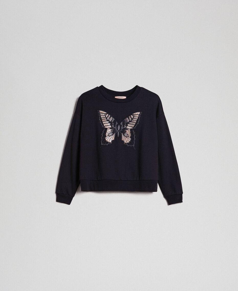 Sweat avec papillon brodé Noir Femme 192TP2732-0S