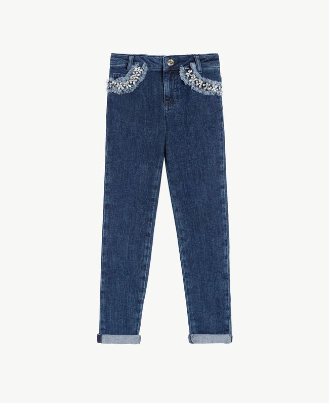"Embroidered skinny jeans ""Mid Denim"" Blue Child GS82W1-01"