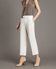 Linen blend cropped trousers White Snow Woman 191TP2202-02