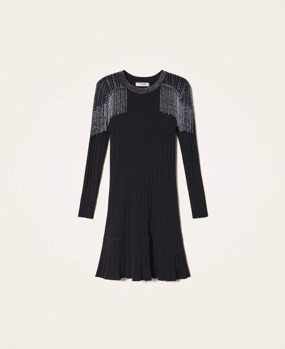 Robe en maille côtelée avec franges Noir Femme 202TT3211-0S