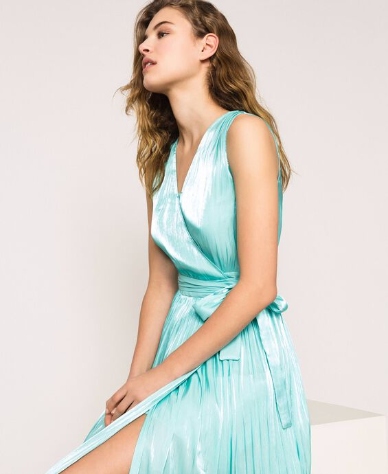 Long dress in shimmering pleated fabric