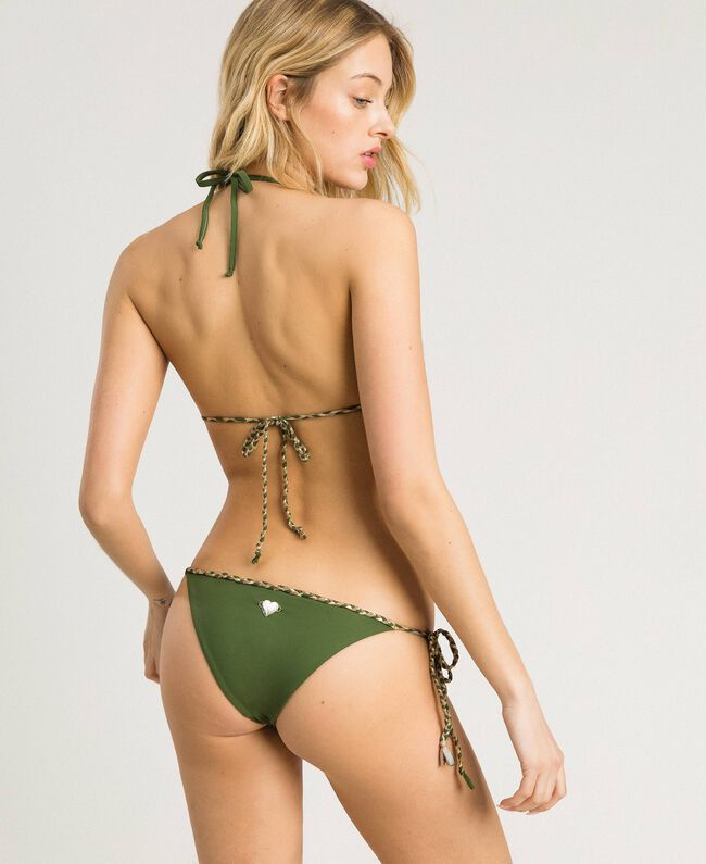 Thong with plaited tie laces Amazon Green Woman 191LMMC88-03