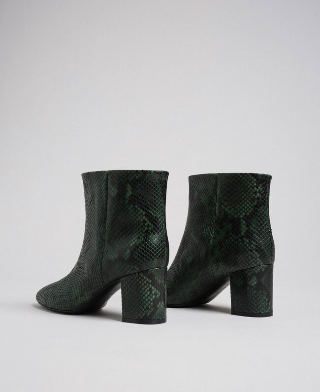 Leather ankle boots with animal print Dark Green Python Print Woman 192TCP12Q-04
