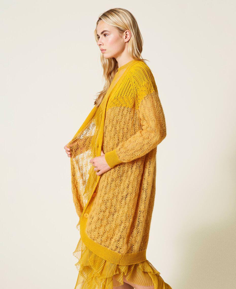 Wool blend openwork maxi cardigan Saffron Yellow Woman 212TP3130-04