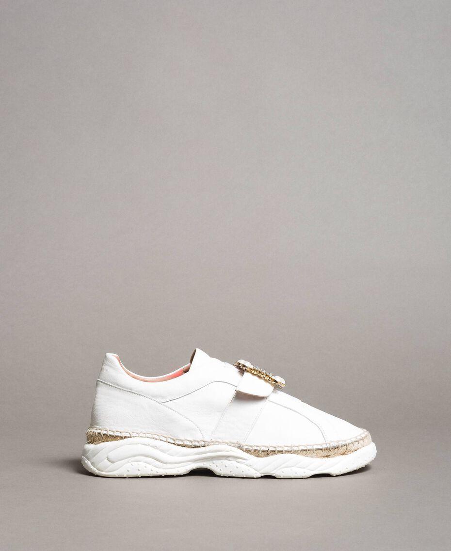 Leder-Sneakers mit Schnalle Weiß Frau 191TCT05C-02