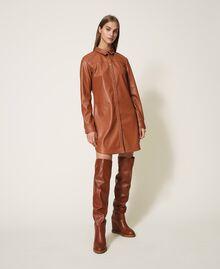 Платье-рубашка из искусственной кожи Красный Терракота женщина 202LI2GEE-04