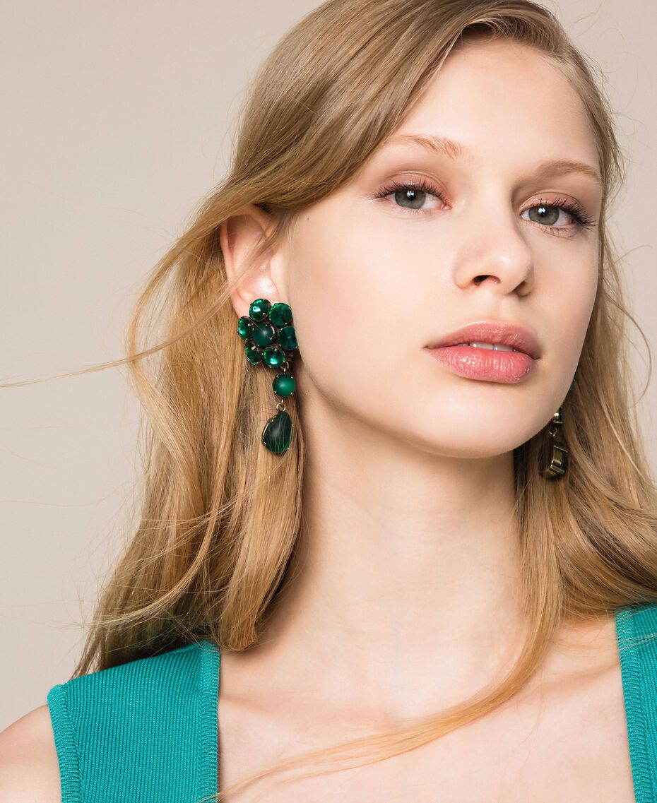 "Pendant earrings with bezels ""Green Jade"" Green Woman 201TO5307-0S"