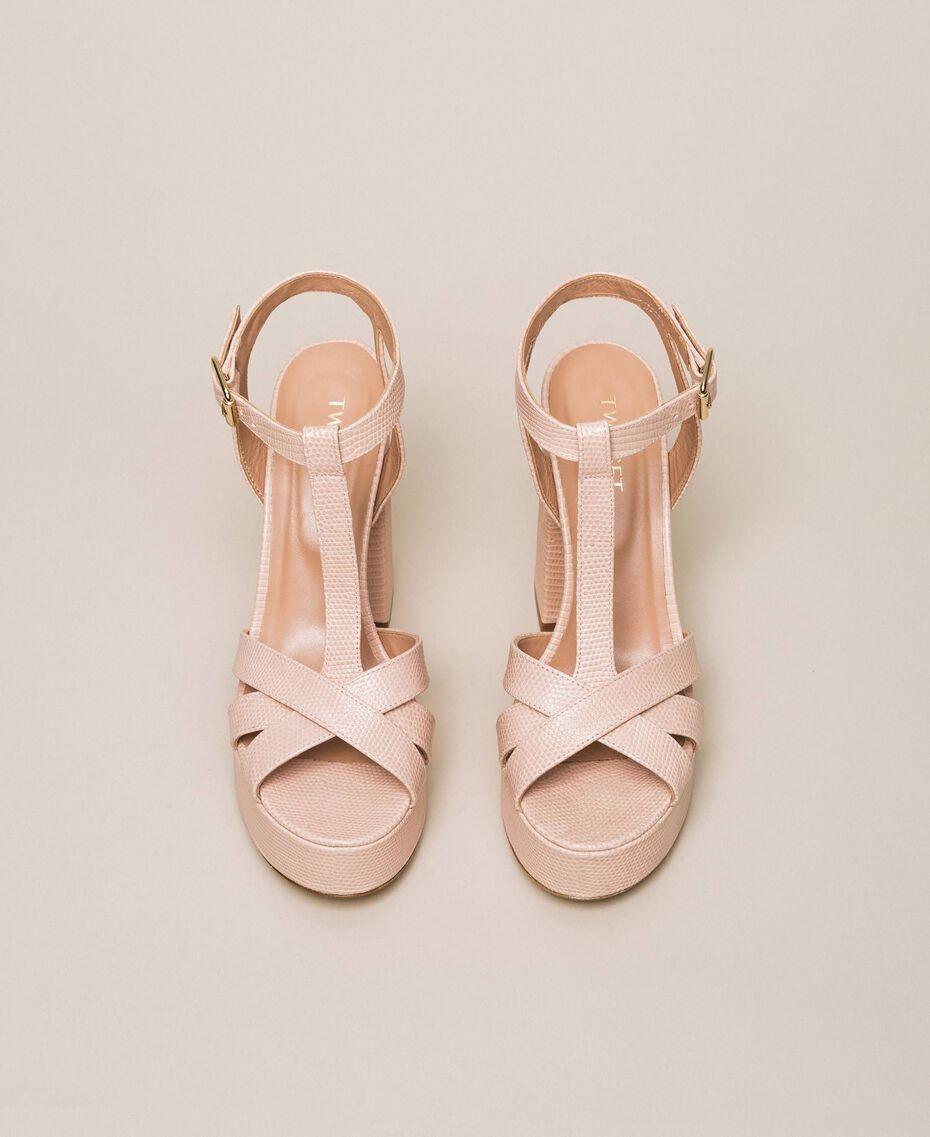 T-Bar-Sandalette aus Leder Blütenknospenrosa Frau 201TCP070-05