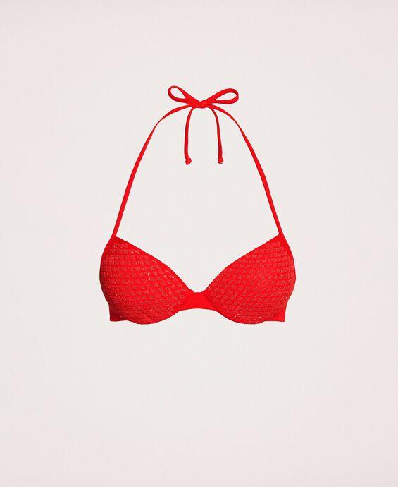 Push-up bikini top with glitter print